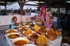 Sumatra: Padang food stall at the market.