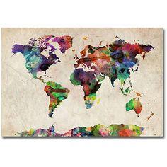 """Trademark Art """"Urban Watercolor World Map"""" Canvas Art by Michael Tompsett"""