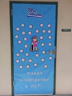 Teacher appreciation door with Dodgers baseball theme!
