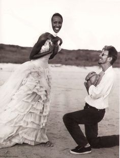 Iman and David Bowie photographed by Bruce Weber in 1995.