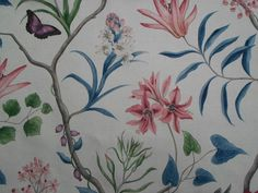 "SANDERSON CURTAIN FABRIC DESIGN /""Swallows/"" 1 METRE NAVY LINEN MIX LIMITED ED"