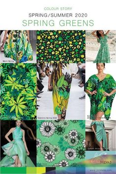 Spring Greens 2020 Colour Trend - Jac Slade Curated colour trends from Spring summer 2020 Runways. 2020 Fashion Trends, Spring Fashion Trends, Fashion 2020, Textiles, Sketch Inspiration, Color Patterns, Print Patterns, Fashion Forecasting, Spring Summer Trends