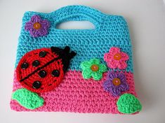 Bags for children/Knitted bag/Gift for a child/Gift little fashionistas/Crochet bag baby / Ladybug/Knitting for children/Ready to ship