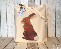 Bunny Rabbit Eco Cotton Tote Bag by ceridwenDESIGN on Etsy, £6.95
