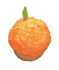 Ingredients  1 tsp orange sanding sugar or sprinkles  1 vanilla cupcake with vanilla frosting  1 1-inch piece green licorice twist,  gummy worm or pretzel rod    Directions  Place the sugar in a small bowl. Dip the cupcake in the sugar to coat. Top with the licorice (or a pretzel rod) to make the stem.