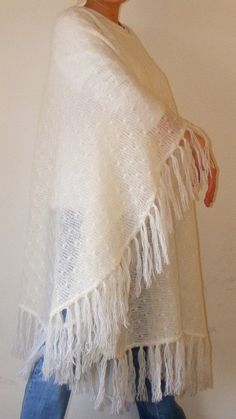white ponchoshawlstolewomen clothingsoftmarch by seno on Etsy, $65.00