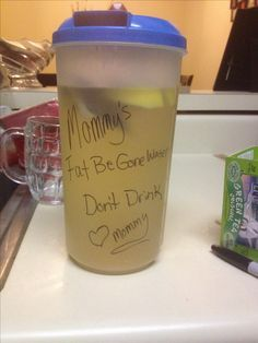 Green tea and lemon water! 3-4 green tea bags half a lemon. Boil your water pour in container let steep for 5-7 min take out tea bags and put it fridge! Helps with burning belly fat and green tea and lemon helps boost metabolism!!! Also gives your good BM's wit makes you feel less bloated!