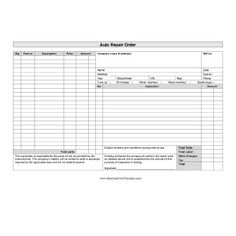Mechanic Shop Invoice  Scope Of Work Template   Pinteres