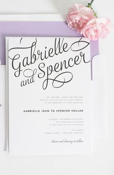 Gorgeous script on this invite design by Shine Wedding Invitations