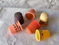 Vintage Plastic Thimble Collection Set Of 6 Advertising