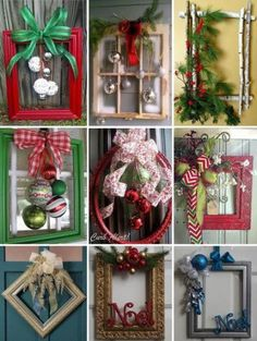 Best 12 146 diy holiday projects using dollar store ornaments – page 31 > Homemytri. Picture Frame Wreath, Christmas Picture Frames, Picture Frame Crafts, Christmas Pictures, Old Picture Frames, Noel Christmas, Simple Christmas, Christmas Projects, Holiday Crafts