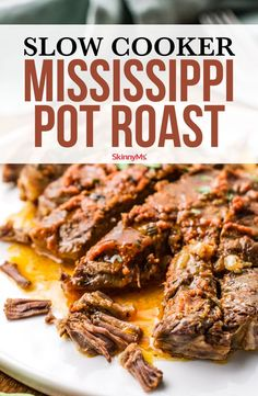 Skinny Mississippi Pot Roast Easy, filling, and savory, this Skinny Mississippi Pot Roast is the perfect slimmed-down version of the original Crock Pot classic. Roast Recipes, Crockpot Recipes, Cooking Recipes, Freezer Recipes, Grilling Recipes, Cooking Ideas, Healthy Family Meals, Healthy Dinner Recipes, Skinny Recipes