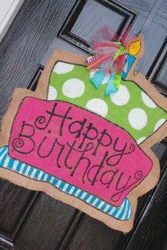 Birthday Burlap door Hanger/