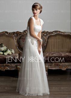Wedding Dresses - $186.99 - A-Line/Princess Square Neckline Floor-Length Tulle Wedding Dress With Ruffle Beadwork (002011588) http://jennyjoseph.com/A-Line-Princess-Square-Neckline-Floor-Length-Tulle-Wedding-Dress-With-Ruffle-Beadwork-002011588-g11588
