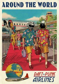 Ads Libitum 'Around The World' Daft Punk Music Metal Wall Art Print x Multicolor, Noir Gallery(Aluminum) Paris Vintage, Vintage Ads, Retro Ads, Daft Punk Poster, Gig Poster, Ad Libitum, Music Hits, Art Prints Online, Illustration