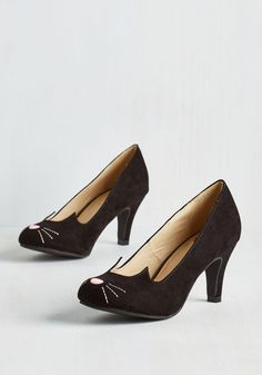 Mew and Me Forever Heel in Black. Fetching, fierce, and infinitely adorable - thats how you describe these cute cat pumps from T.U.K.! #black #modcloth