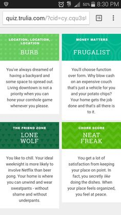 There weren't any questions about obsessive chaos from scrapbooking.  Fun quiz from trulia though