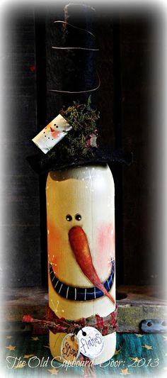 Snownan wine bottle #DIY #inspiration #snowman