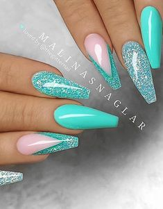 54 Stunning Acrylic Gel Coffin Nails Design For Summer Nails To Look Elegant! - 54 Stunning Acrylic Gel Coffin Nails Design For Summer Nails To Look Elegant! – … – 54 Stunning Acrylic Gel Coffin Nails Design For Summer Nails To Look Elegant! Teal Nail Designs, Cute Acrylic Nail Designs, Indian Nail Designs, Coffin Nails Designs Summer, Summer Acrylic Nails, Best Acrylic Nails, Summer Nails, Spring Nails, Teal Nails