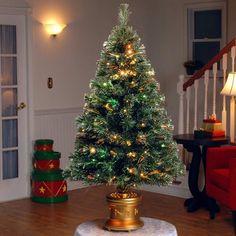 Northwoods Greenery 3 Musical Spinning Fiber Optic Tree One size Green