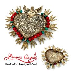Corazon en Llamas (Brooch/Necklace) ©2016 Lorena Angulo Bronze, Chinese Turquoise, Coral, Silk Thread, Steel wire. 2.80 inches tall by 3.30 inches wide.