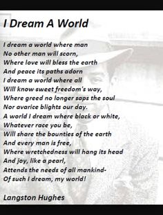 I dream a world - Langston Hughes Black History Month Poems, Black History Quotes, Langston Hughes Quotes, Famous Poems, Short Poems, Poem Quotes, Qoutes, Poetry Books, Beautiful Words