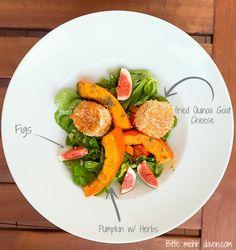 Gebackener Ziegenkäse im Quinoamantel auf Salat und Kürbis // Baked Goat Cheese coated with Quinoa on Salad and Pumpkin #quinoa #ziegenkäse #goatcheese #salad #salat #bakedcoatcheese #gebackenerziegenkäse #gebacken