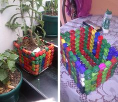 Ideas to do with tapi Plastic Bottle Caps, Reuse Plastic Bottles, Bottle Cap Art, Bottle Top Crafts, Bottle Cap Projects, Diy Bottle, Recycled Crafts, Diy And Crafts, Bottle Garden