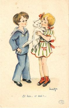 Couple of children with their cat Old by sharonfostervintage, $3.00