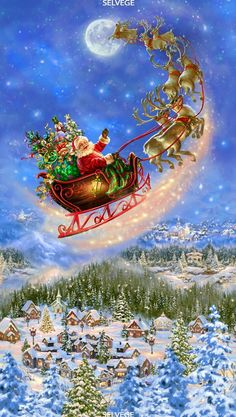 Your place to buy and sell all things handmade 23 Fabric Panel - Timeless Treasures Digital Santa Claus Sleigh Reindeer Town Christmas Fabric, Christmas Art, Christmas Holidays, Christmas Decorations, Christmas Wreaths, Merry Christmas Gif, Christmas Costumes, Christmas Stuff, Christmas 2019