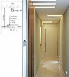 Resultado de imagem para qual largura minima de rasgo no gesso Corridor Lighting, Cove Lighting, Interior Lighting, Lighting Concepts, Lighting Design, Architecture Details, Interior Architecture, Plafond Design, Bedroom False Ceiling Design