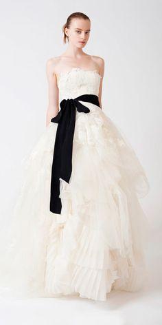 Buy Elegant Strapless Applique Black Bowknot Sash Tulle Floor Length Wedding Dress for Brides Online Cheap Prices