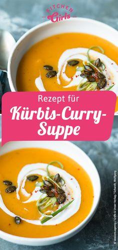 Recipe for pumpkin and curry soup: kitchengirls. Chicken Curry Soup, Chicken Spices, Chicken And Vegetables, Spicy Chicken Recipes, Vegetable Soup Recipes, Lentil Potato Soup, Indian Soup, One Pot Vegetarian, Recipes