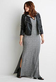 Hooded High-Slit Midi Dress   Forever 21 PLUS - 2002247583