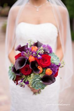 Purple, red, and orange bridal bouquet with roses and calla lilies | Jason Hicks Photography | villasiena.cc