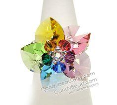 Swarovski ring Rainbow Heart Swarovski Crystal Ring by candybead, $9.50