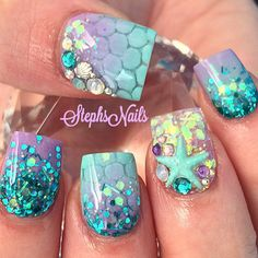 Mermaid princess nails
