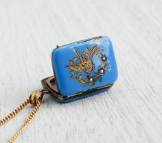 Antique 14K Gold Bird Locket Necklace - Rare 1800s Seed Pearl & Blue Enamel Victorian Fine Jewelry / Swallow