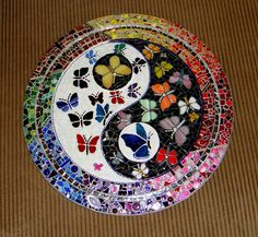 Yin Yang Butterflies stained Glass Mosaic Black White