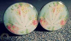 Weed Leaf On Floral Print- Weed Plugs, 420, Stoner, Girly Plugs  ( 1 Pair - 2 Double Flare Tunnels)
