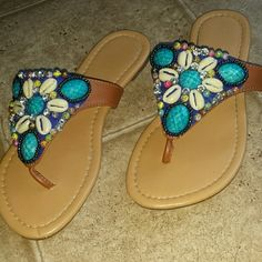 Beautiful sandals Like new! All beads in tact. Avon Shoes Sandals