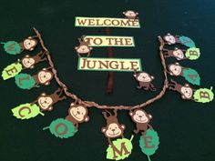 Monkey, Jungle, Baby Shower Banner and Welcome Sign Monkey Birthday Parties, Jungle Theme Birthday, Jungle Party, Birthday Cards, Welcome Baby Banner, Its A Boy Banner, Safari Jungle, Safari Theme, Baby Banners