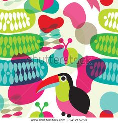 Seamless colorful retro exotic brazil toucan bird abstract organic shape illustration background pattern in vector by Maaike Boot, via Shutt...