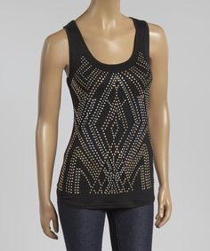 Look at this Black Studded Racerback Tank on #zulily today!
