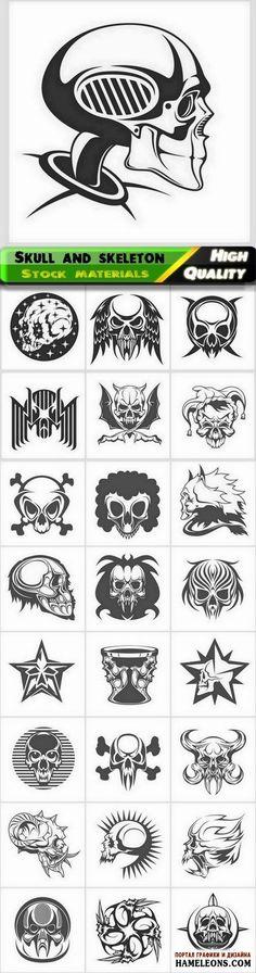 Черепа людей, животных - принты для футболок в векторе | Skull and skeleton of people and animal for t-shirt print