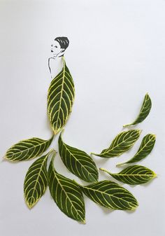 Tang Chiew Ling - fashion illustrations by combining graphics and various different leaves and flower petals.