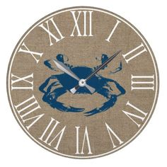 Coastal Blue Crab & Faux Burlap Large Clock - home gifts ideas decor special unique custom individual customized individualized