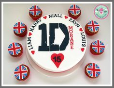 One Direction Birthday Cake and cupcakes One Direction Birthday, Cupcake Cakes, Cupcakes, Birthday Cake, Cookies, Desserts, Food, Crack Crackers, Tailgate Desserts