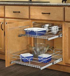 "Kitchen Cabinet Organizer Slide Out Basket Shelves 2-tier Shelf 12""Wx22""D Chrome #RevAShelf"