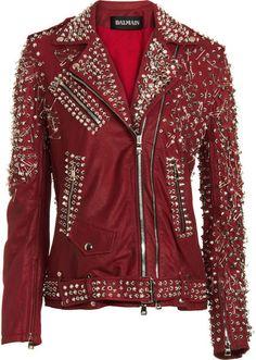 BALMAIN Studded Biker Jacket WANT, this is so Michael Jackson ;)